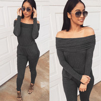 Gray and Black Slash Neck Long Sleeve Shirt with Pant