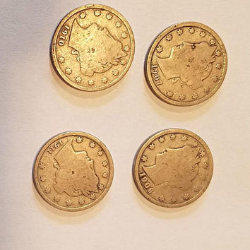 4 liberty V nickel coins from 1911 1910 1906 1907 antique coin lot money Liberty Head Nickel 1900s