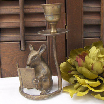 Vintage Brass Mouse Candleholder Mouse Reading Book