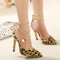 Ankle Strap Leopard Heels Brand Lock Pointed Toe Heels Stiletto