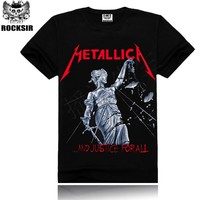 2017 Metallica print Men's t shirt Man T shirt Metallica Summer Tops Tees T shirt Rock Hip Hop T shirt Famous Brand clothing