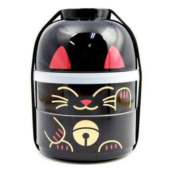 Big Kokeshi Bento Maneki-Neko Black