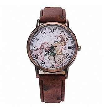 Popular Women Men Vintage Retro World Map Pattern Watch Couple Wristwatch(Christmas Gift) I