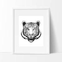 Tiger Head with Brush Strokes in Black #2, Wall Decor Ideas