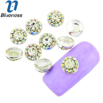 Blueness 10 Pcs/Lot Silver Nail Art Crystal AB Rhinestones For Nails Flower Design Studs Charms Strass Manicure Supplies TN1816