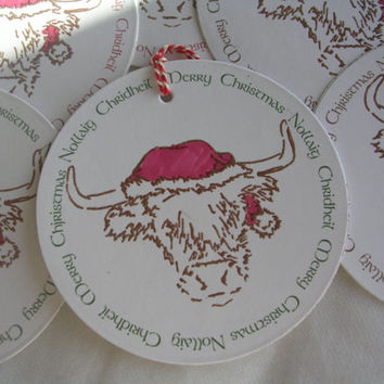Wee Hielan Coo Scottish Christmas Gift tags