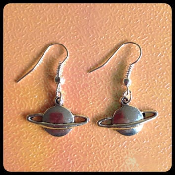 Saturn planet space Silver Tone Charm Earrings