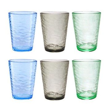 Premium Acrylic Drinking Glass, Set of 6, 16.6 oz, BPA-Free, Multi-Color