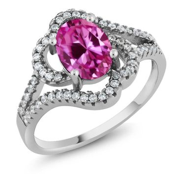 2.32 Ct Oval Pink Created Sapphire 925 Sterling Silver Ring