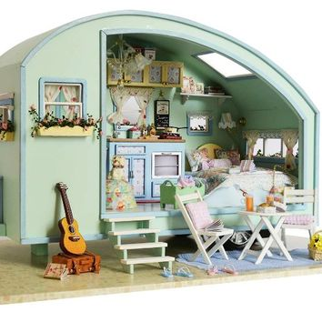 DIY Wooden Miniature Caravan Dollhouse with Sound Control Switch