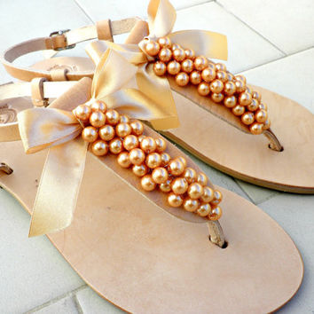 Bridal sandals - Decorated sandals with pearls and satin bow - Tangerine pearls satin bow summer sandals - Fashion trend color shoes