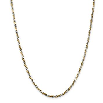 925 Sterling Silver & Vermeil 2.5mm Diamond-cut Rope Chain Necklace, Bracelet or Anklet