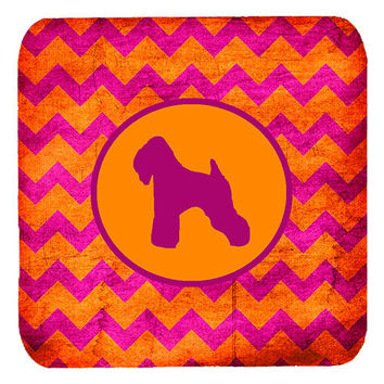 Set of 4 Wheaten Terrier Soft Coated Chevron Pink and Orange Foam Coasters
