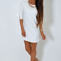 Cinder White and Gold Chain Detail Shift Dress | Pink Boutique