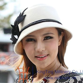 Free Shipping Fashion and New Women Hat Winter Hat Wool Felt Hat Fedoras Elegant  Fashion Women Dresss White Hat 2 colors