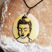 Buddha Pendant - Hand painted Buddha on a Marble effect clay background - Mothers Day Gift