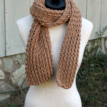 Loom Knit Scarf - Camel/Brown Color