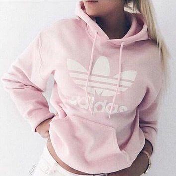 """Adidas"" Women Trending Fashion Casual  Hooded Top Sweater Pullover Sweatshirt Pink G"