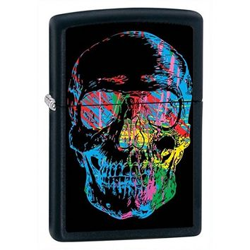 Skull Zippo Outdoor Indoor Windproof Lighter Free Custom Personalized Engraved Message Permanent Lifetime Engraving on Backside