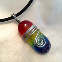 Handmade Jewelry, LGBT gift, Unique Jewelry, Rainbow Cabochon Pendant, Fused Glass Beads, Art Teacher Gift, Custom Colors