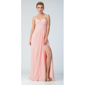 Starbox USA 6425 Strapless Long Bridesmaid Dress with Slit Blush