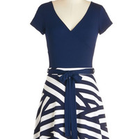 ModCloth Nautical Mid-length Short Sleeves A-line Dare to Be Different Dress