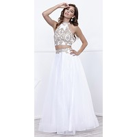 White/Gold Embellished Halter Two-Piece Prom Dress Long
