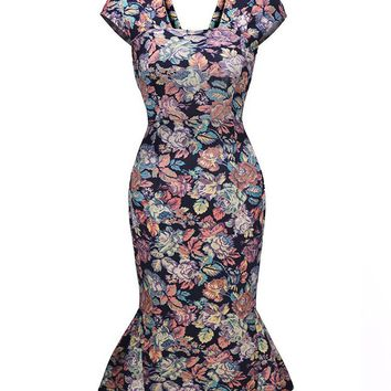 Streetstyle  Casual Mermaid Square Neck Floral Printed Bodycon Dress