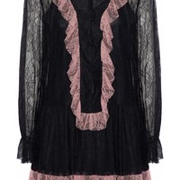 Ruffled two-tone corded lace mini dress   ANNA SUI   Sale up to 70% off   THE OUTNET