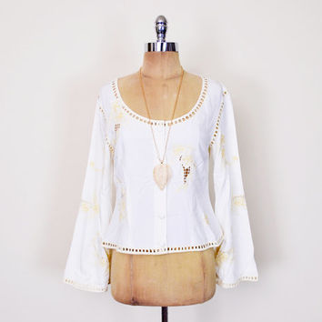 Bali Cutwork Blouse Bali Cut Work Blouse White Embroider Blouse Angel Sleeve Blouse Bell Sleeve Top 70s Hippie Blouse Boho Blouse M Medium