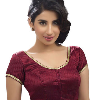 Ethnic Maroon Party-wear Silk Sari Blouse SNT-X-258-SL