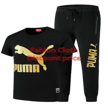 Puma Short Sleeve T-Shirt And Trousers Pumas Newest Style L-4XL 81688 Black