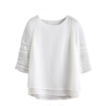 Shirts Women Blouses White Cotton Lace O Neck Three Quarter Sleeve BlouseTops Women Clothing Camisa Mujer #63 GS
