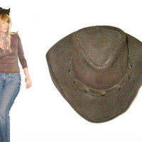 Minnetonka Genuine Distressed Brown Leather Concho Hat Size Small Vintage Boho Cowgirl Cowhide Free Spirited People