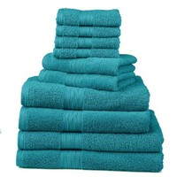 Divatex Home Fashions 10-Piece Deluxe Towel Sets, Turquoise blue