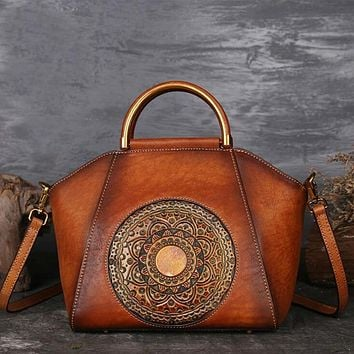 Gorgeous Mandala Design Rich Genuine Leather Hand and Shoulder Bag