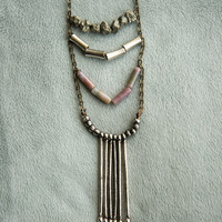 DAYDREAMER LONG NECKLACE - Indian Agate Pyrite Gemstone  - Charlie Girl Gems