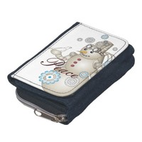 Cute White Dove & Steam-punk Snowman Wallet for Christmas Holiday: Kawaii Peace Denim Wallet with Coin Purse
