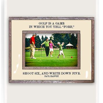 "Golf Is A Game In Which You Yell ""Fore"" Copper & Glass Photo Frame"