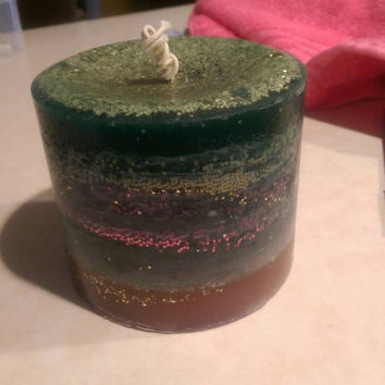 Soy citrus grove / grassy field scented candle w glitter