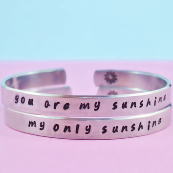 you are my sunshine/ my only sunshine - Hand Stamped Personalized Bracelets, Forever Love, Mother Daughter Bracelets, Handwritten Font, V2