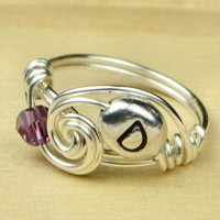 Any Birthstone and Initial Personalized Ring- Sterling Silver Filled Wire Wrapped Ring- Size 4, 5, 6, 7, 8, 9, 10, 11, 12, 13, 14