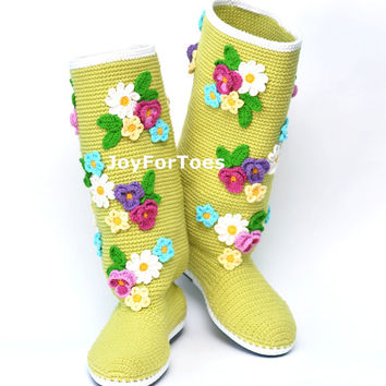 Crochet Boots for the Street Floral Boots Crochet Women Shoes Green
