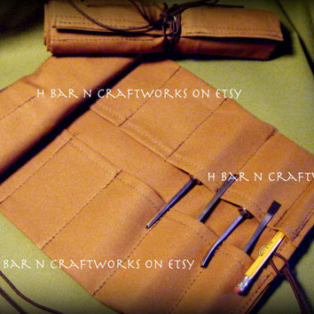 Large Tan Canvas Tool Roll for Crafters, Woodworkers, Leatherworkers