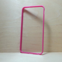 Silicone Bumper and Clear Hard Plastic Back Case for iPhone 6 Plus (5.5 inches) - Rose Pink