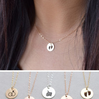 Engraved Icon Brushed Disk Necklace