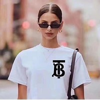 BURBERRY Summer Stylish Women Men Leisure Print Round Collar T-Shirt Top Tee Blouse White