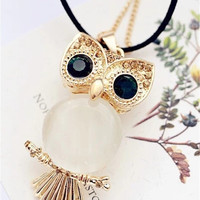 Korean Women Lovely Green-eyed Owl Pendant Sweater Chain Necklace Hairy Clothes Accessories