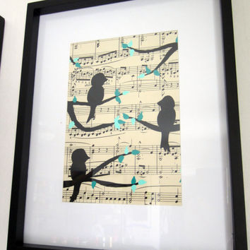 framed art Birds on a tree branch vintage sheet music art painting set of 3 5x7 turquoise and teal