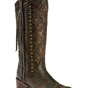 CORRAL Women's Distressed Aztec Studded Cowgirl Boot Round Toe - C2882